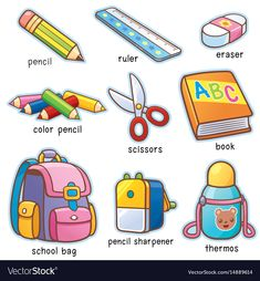 Find Vector Illustration Cartoon Back School Vocabulary stock images in HD and millions of other royalty-free stock photos, illustrations and vectors in the Shutterstock collection. Thousands of new, high-quality pictures added every day. Learning English For Kids, English Lessons For Kids, Kids English, English Language Learning, Teaching English, Language Arts, English Activities, Preschool Learning Activities, Preschool Worksheets