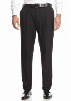 Haggar Black Classic Fit Repreve Dress Stria Pleated Pants