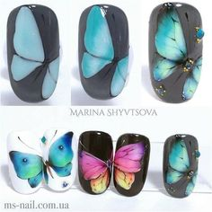 Stunning nail art I really like! - Stunning nail art I really like! Nautical Nail Designs, Nautical Nail Art, Cool Nail Designs, Art Designs, Butterfly Nail Designs, Butterfly Nail Art, Daisy Nail Art, Bright Nail Art, Nail Art Blog