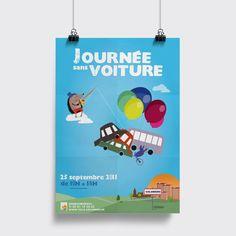 Projet : Campagne  Client : Ville de Colomiers Agence : Birds communication  #ecologie #illustration #affiche #voiture #poster