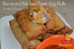 "Bacon and Mashed Potato Egg Rolls If there is something I love is The Egg Roll Wrappers !! Yes !! you can wrap almost anything in them. The use for pepperoni and mozzarella cheese sticks rolls .. a delight!  The potato Like almost everyone, even more the ""mashed potatoes"" Imagine mashed potatoes with melted cheese and bacon bits crunchy .. all wrapped in egg roll dough and deep fried until golden !!! In this appetizer is today !! with only 1 cup mashed potatoes 4 tablespoons of cooked bacon…"