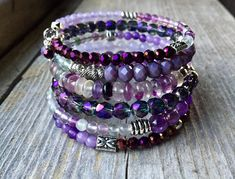 Perfectly Purple Multi Strand Memory Wire Bracelet With