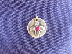 Sterling zia charm with synthetic birthstone and by StuckOnSilver