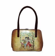Ručne maľovaná kabelka 8574 s motívom Milenci na lavičke - svetlá