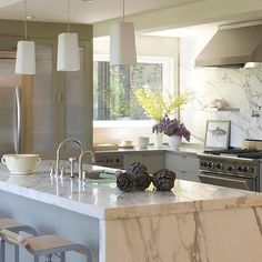 Calcutta Marble Island, Contemporary, kitchen, Ken Linsteadt Architects