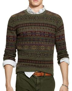 With its meticulously knit Fair Isle pattern, this wool-blend pullover from Polo Ralph Lauren is a heritage-inspired essential. Motif Fair Isle, Fair Isle Pattern, Tweed, Polo Ralph Lauren, Fair Isle Pullover, Fair Isle Knitting Patterns, Gentleman Style, Knitwear, Blazers