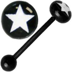 White Star Logo Black Acryclic Tongue Rings Solid Color