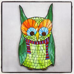 """""""Owliver"""", stained glass mosaic owl silhoutte by Kasia Polkowska, 19"""" x 10"""" 2015  Sign Up For a Mosaic Owl Class: http://kasiamosaicsclasses.blogspot.com/"""