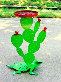 Plasma Cut Steel Horny Toad Lizard Cactus by BestofbothWorlds, $128.00