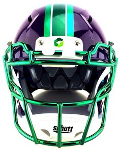 71d2771b268 GREEN GRIDIRON helmet created by Green Gridiron. Purple Schutt Vengeance  helmet with chrome decals and Green Chrome V-EGOP facemask by Green Gridiron .