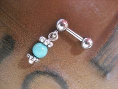 Tragus Earring Simple Turquoise Stone Cartilage by Azeetadesigns