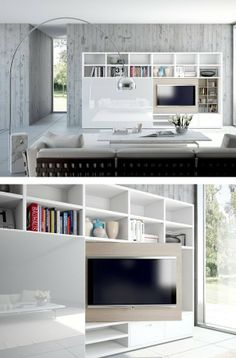 Lacquered storage wall FLEXUS by GIELLESSE