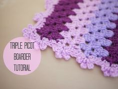▶ CROCHET: Triple picot boarder tutorial | Bella Coco - YouTube