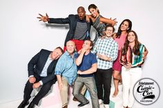 Cast of Brooklyn Nine-Nine at Comic Con Brooklyn Nine Nine Rosa, Brooklyn 9 9, Brooklyn 99 Actors, Charles Boyle, Jake And Amy, Studio Portrait Photography, Photography Studios, Project Blue Book, Jake Peralta