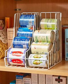 """Kitchen Soda Cans Vegetable or Soup Can or Canned Goods Double Pantry Organizer Only 15 In Stock Order Today! Product Description: Store and organize your canned goods in the same amount of shelf space with this Double Pantry Can Organizer. Holds cans up to 5-1/2"""" tall. Not a dispenser. 11""""W x 10-1/4""""D x 12-1/8""""H. Metal. Easy assembly required. Key Features: Stack different types of cans, or all the same Fits neatly on a shelf - Make better use of your pantry space - Details: - 11""""W x…"""