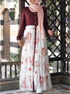 Printed Ruffled Buttoned Abaya Source by rahmathrahmathmarottickal fashion hijab Modern Hijab Fashion, Muslim Women Fashion, Arab Fashion, Islamic Fashion, Modesty Fashion, Stylish Dress Designs, Designs For Dresses, Stylish Dresses, Modest Dresses