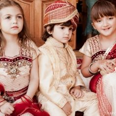 A ring bearer and flower girls dressed in traditional Indian outfits for this fusion Indian wedding in Palos Verdes Estates, CA -- adorbs!
