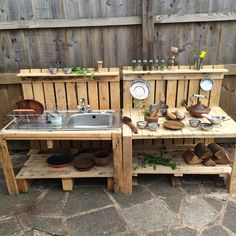 Our mud kitchen #mudkitchen