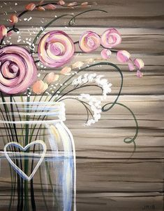 Mason Jar with heart blossoms & pink flowers acrylic painting on canvas. Mason Jar with heart blossoms & pink flowers acrylic painting on canvas. Easy Canvas Painting, Diy Canvas, Easy Paintings, Painting & Drawing, Canvas Art, Acrylic Canvas, Diy Paintings On Canvas, Acrylic Paintings, Heart Painting
