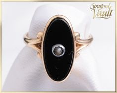 Antique ~ Victorian Black Onyx & Pearl Ring ~ Yellow Gold ~ 14 x 6 mm Oval Black Onyx ~ Fresh Water Pearl ~ ~ Beautiful Gift Boxes, Pearl Ring, Black Onyx, Gemstone Rings, Jewels, Yellow, Antiques, Metal, Fresh Water