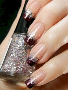 Glitter nail art designs have become a constant favorite. Almost every girl loves glitter on their nails. Have your found your favorite Glitter Nail Art Design ? Beautybigbang offer Glitter Nail Art Designs 2018 collections for you ! French Nails, French Manicure Nails, Manicure E Pedicure, French Pedicure, Manicure Ideas, French Manicure With Glitter, Glitter French Tips, Nagel Hacks, Gel Nail Art Designs