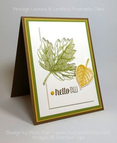 Clean & simple combination of Vintage Leaves & Leaflets Framelits Dies for a autumn or fall card - Designed by Mary Fish, Independent Stampin' Up! Demonstrator.  Details, supply list and more card ideas on http://stampinpretty.com/2015/10/stampin-up-vintage-leaves-for-fall.html