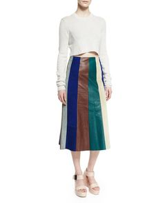 COLORFUL STRIPES: Cashmere-Blend Long-Sleeve Cropped Sweater & Striped Patchwork Leather Skirt