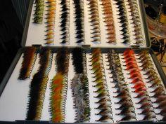 A few of Ken's flies - Ken keeps on tying in spite of having boxes like this