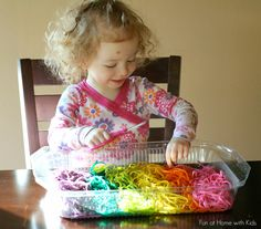 Rainbow Spaghetti Sensory Play and Fine Motor Practice from Fun at Home with Kids