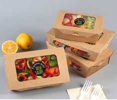 Food Container for a Fruit Salad - Buy Paper Fruit Salad Container, Custom Food . Takeaway Packaging, Salad Packaging, Vegetable Packaging, Packaging Box, Food Packaging Design, Salad Design, Food Design, Salad Box, Paper Fruit