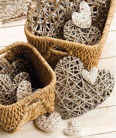 Baskets of wicker hearts...