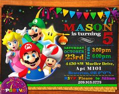 SUPER MARIO BROS Super invitación de Mario por PartyForChild Mario Kart, Mario Bros., Mario And Luigi, Sonic Birthday Parties, Sonic Party, Mario Birthday Party, Super Mario Party, Super Mario Bros, Peach Mario