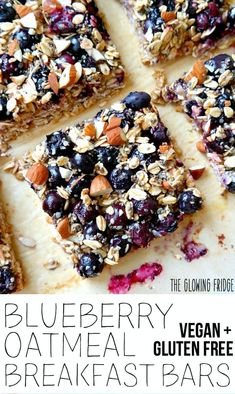 'Blueberry Oatmeal Breakfast Bars' that are wholesome, super clean, nutritionally balanced, naturally sweetened and have the added superfood goodness of chia seeds and hemp seeds. Eat one square alongside a smoothie for breakfast or as a yummy Clean Eating Snacks, Healthy Snacks, Vegan Lunches, Diet Snacks, Vegan Snacks, Vegan Dinners, Eating Healthy, Healthy Living, Gourmet Recipes