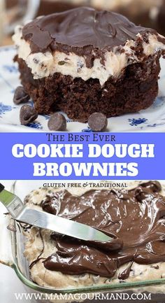 If you are a chocolate chip cookie fan you will love Cookie Dough Brownies! This decadent and easy recipe has a thick fudgy brownie topped with creamy cheesecake cookie dough and all covered in a rich chocolate shell. via MamaGourmand Best Dessert Recipes, Easy Desserts, Sweet Recipes, Delicious Desserts, Yummy Food, Paleo Brownies, Easy Brownies, Mint Brownies, Cookie Dough Brownies
