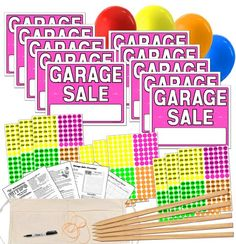 Garage Sale Sign Kit with Pricing Stickers and Wood Sign Stakes Yard Sale Signs, Garage Sale Signs, For Sale Sign, Sticker Organization, Money Change, Fluorescent Colors, Thing 1, Price Sticker