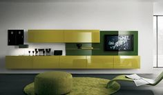 Entertainment Center idea.  But the shelving would be white lacquer and the green accent behind the tv would be BM - Million Dolllar Red.  Walls would be a medium grey colour.