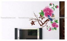 Beautiful Magnolias Blooming And Two Birds Singing On A Branch Wall Sticker