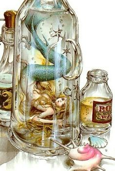 Mermaid in a bottle, Nao Tsukiji Illustration Mythical Creatures, Sea Creatures, Manga Anime, Anime Art, Mermaid Fairy, Anime Mermaid, Mermaids And Mermen, Merfolk, Amazing Art