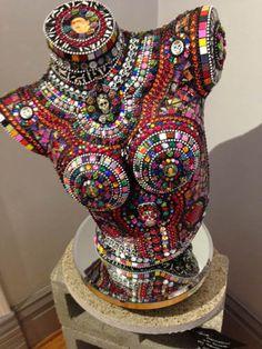 Spokane Original Art Shows - ManicMoon&More - Spokane Art Gallery Mosaic Crafts, Mosaic Projects, Mosaic Art, Mosaic Glass, Mannequin Torso, Mannequin Art, Vintage Mannequin, Bus Art, Found Object Art