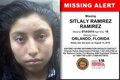 SITLALY RAMIREZ RAMIREZ, Age Now: 16, Missing: 08/14/2016. Missing From ORLANDO, FL. ANYONE HAVING INFORMATION SHOULD CONTACT: Orlando Police Department (Florida) 1-321-235-5300.