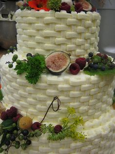 Beautiful wedding cake by Chef Cori at #basinharbor . Harvest fruits and other edibles from the grooms mother's farm. IMG_7246, via Flickr.