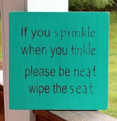 Boys Bathroom Wood Sign If You Sprinkle When by PreciousMiracles, $18.99