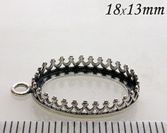 2pcs x Oval 18x13mm Quality Cast Bezel Cup For Setting Antique (Oxidized) Sterling Silver 925 (8161)