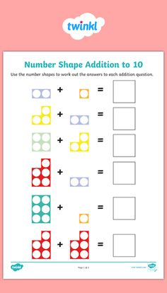 Use these number shape addition activity sheets to encourage children to practis. Use these number Numicon Activities, Kids Math Worksheets, Learning Resources, Activities For 6 Year Olds, Addition Activities, Maths Eyfs, Grande Section, Primary Maths, Activity Sheets