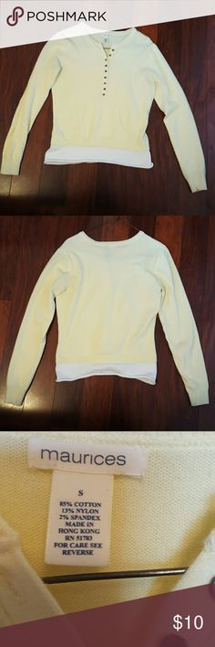 Maurices Light Weight Sweater This super light weight sweater is in good condition, only worn a few times!! It is light yellow and half button up!! Super cute and nice to wear on a cool summer night out;) Oh and the last pic is of a front pocket, mostly for looks!!! Maurices Tops Sweatshirts & Hoodies