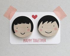Valentines Day gift Wooden brooch Accessories by olula on Etsy, $21.00
