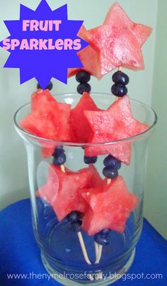 Fruit Sparklers for Memorial Day and 4th of July! How cute!