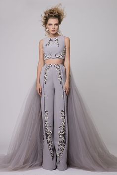 """Azzi & Osta Couture Fall/Winter 16/17 """"Promises Of Dawn"""" Grey, Pants, Top, Cropped Jumpsuit, Crepe, Tulle, Hand Embroidery, White Pearls, Metallic Silver Thread"""