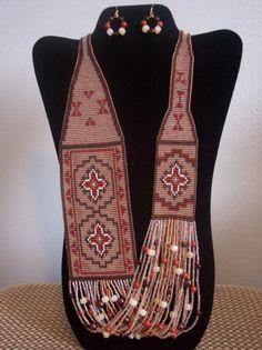 No+telar+tejido+paño+collar+y+los+pendientes+por+AZJOLEEBEADWEAVER,+$190.00