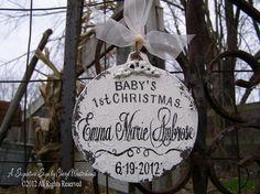 BABYS 1st CHRISTMAS ORNAMENT Vintage by MyPrimitiveBoutique, $29.00